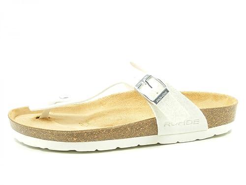 Rohde Riesa 5628 Damen Sandale Zehentrenner 00 Weiß meliert