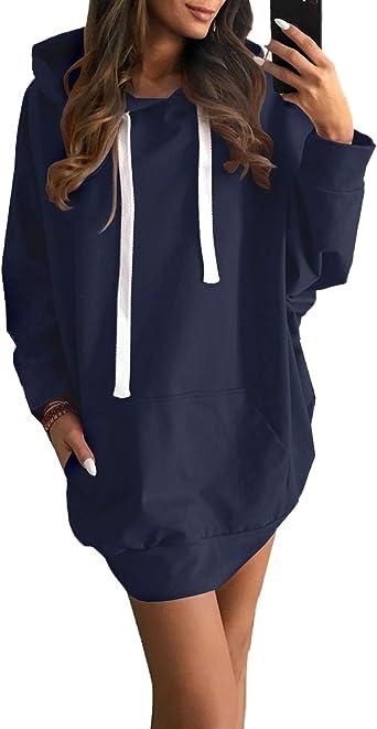 Simple-Fashion Otoño Invierno Mujer Largas Sudaderas Vestido Top ...