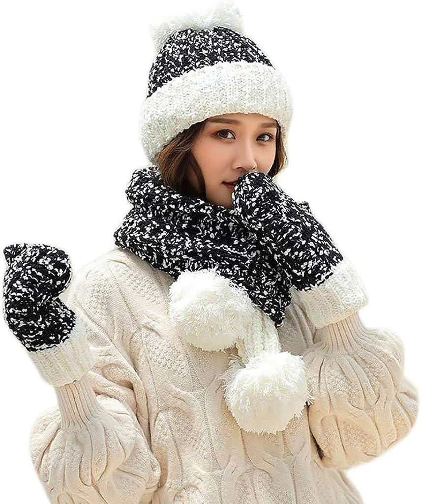 Handschuhe im Winter Warme mehrfarbig gestrickte Venonat M/ütze Set Damen Schal ZWXIN M/ütze