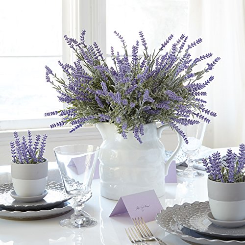 Hydrangea Centerpiece (Butterfly Craze Artificial Lavender Plant with Silk Flowers for Wedding Decor and Table Centerpieces - 4 Piece Bundle)