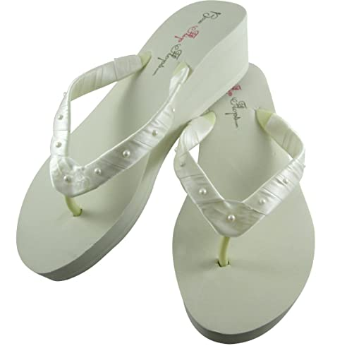 a5662f531 Amazon.com  Pearl Accent Wedge Heel Flip Flops - Swarovski- Ivory 2 inch   Handmade
