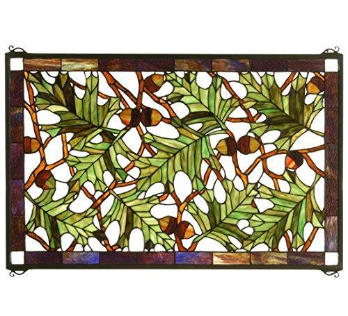 "Meyda Tiffany 66276 Acorn & Oak Leaf Stained Glass Window Panel, 28"" Width x 18"" Height"