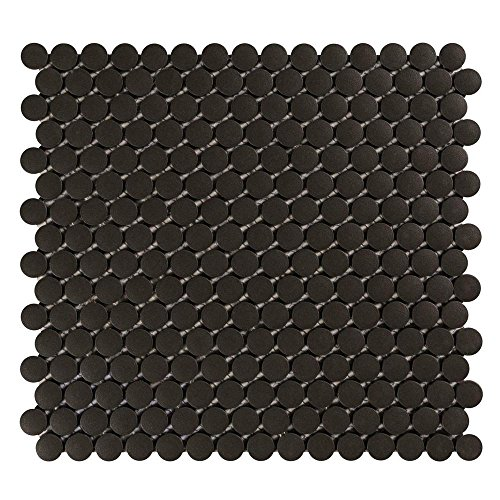 (Vogue Tile Unglazed Black Penny Round Porcelain Mosaic (Box of 10 Pcs), Floor and Wall Tile, Backsplash Tile, Bathroom Tile on 12x12 Mesh for Easy Installation)