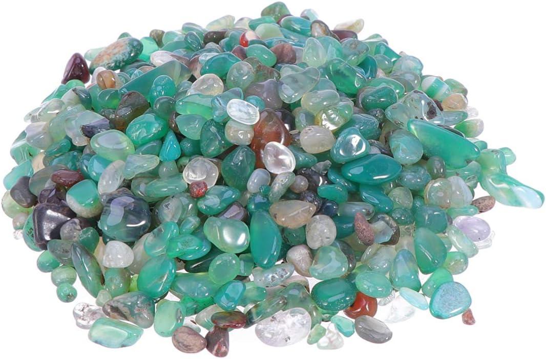 IMIKEYA 500 g de fluorita troceada piedra de piedra de cristal de cuarzo natural piedra de curación piedra reiki chakra piedra para jardinería maceta (ágata verde 5-7mm)