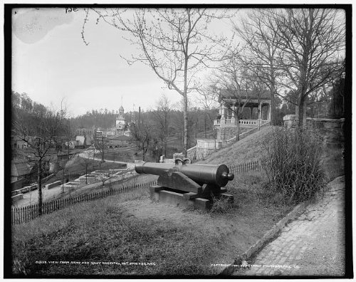 HistoricalFindings Photo: View,Army,Navy Hospital,cannons,weapons,guns,Hot Springs,Arkansas,AR,c1901