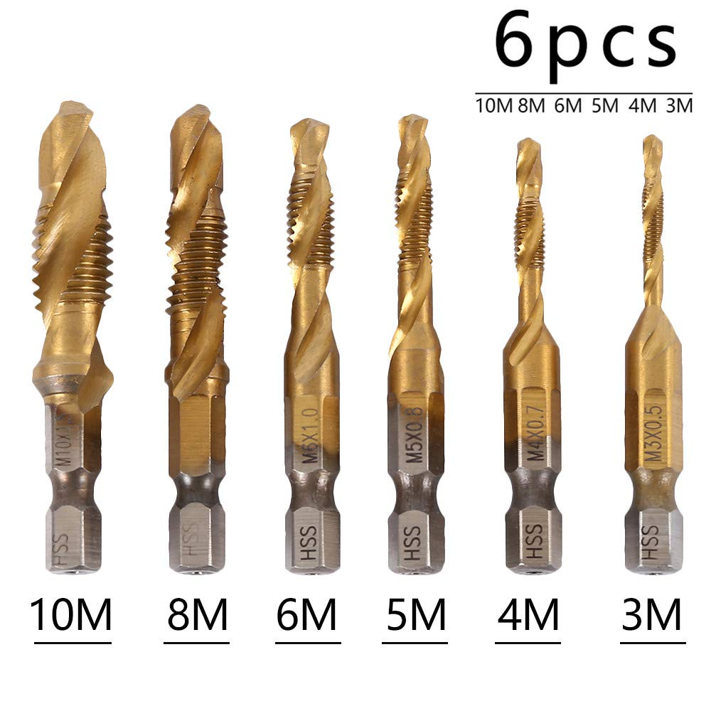 Wrightus 6Pcs Metric Drill Tap Combination Bit Set M3-M10 Titanium Coated High Speed Steel Countersink Screw Thread Tap with 1//4 Hexagon Shank for Soft Metal Tapping Aluminum Iron Wood Copper Plate