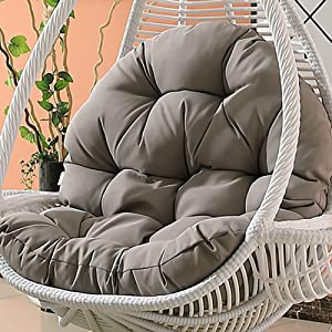 MSM Waterproof Hanging Cushion, Swing Chair Wicker Hammock Weave Egg Pad, Balcony Patio Garden-Neither Stand Nor Chair are Include-Gray 120x86cm(47x34inch)