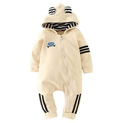 Bebe Niño Mono con Capucha Manga Larga Mameluco Algodón Pelele Pijama Trajes 3-6 Meses