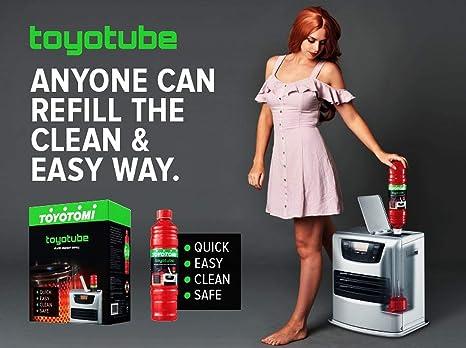 toyotube - Carga Rápida para estufas toyotomi - Pack de 6 botellas de 1,4 L + filtro adaptador: Amazon.es: Bricolaje y herramientas