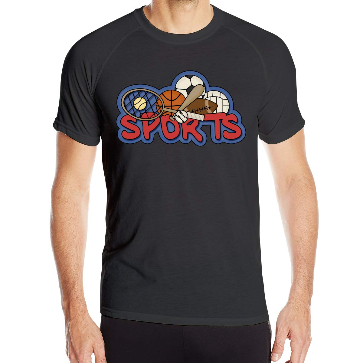 XueDaoStore Sports Men Fast Drying Round Collar Shirt T-Shirt Basic Short Sleeve Gym T-Shirt
