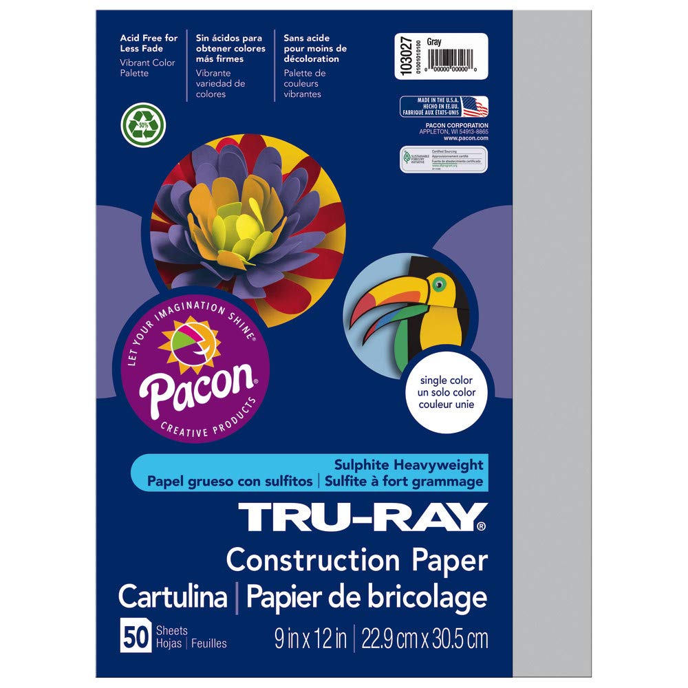 Pacon Tru-Ray Construction Paper, 9-Inches by 12-Inches, 50-Count, Gray (103027) Pacon Corporation