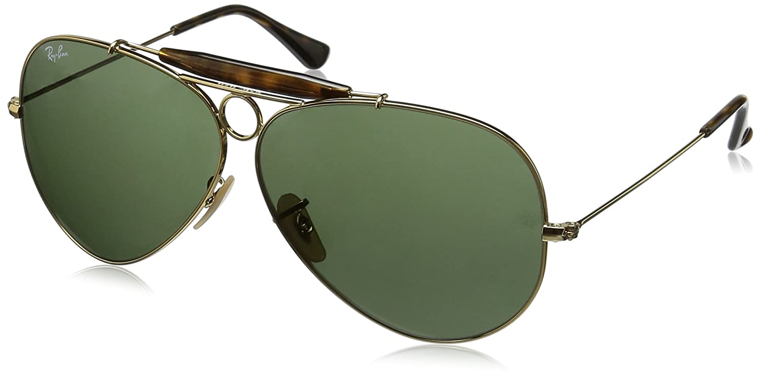 7efbf2a9d3e Ray-Ban SHOOTER - GOLD Frame CRYSTAL GREEN Lenses 62mm Non-Polarized   Amazon.com.au  Fashion