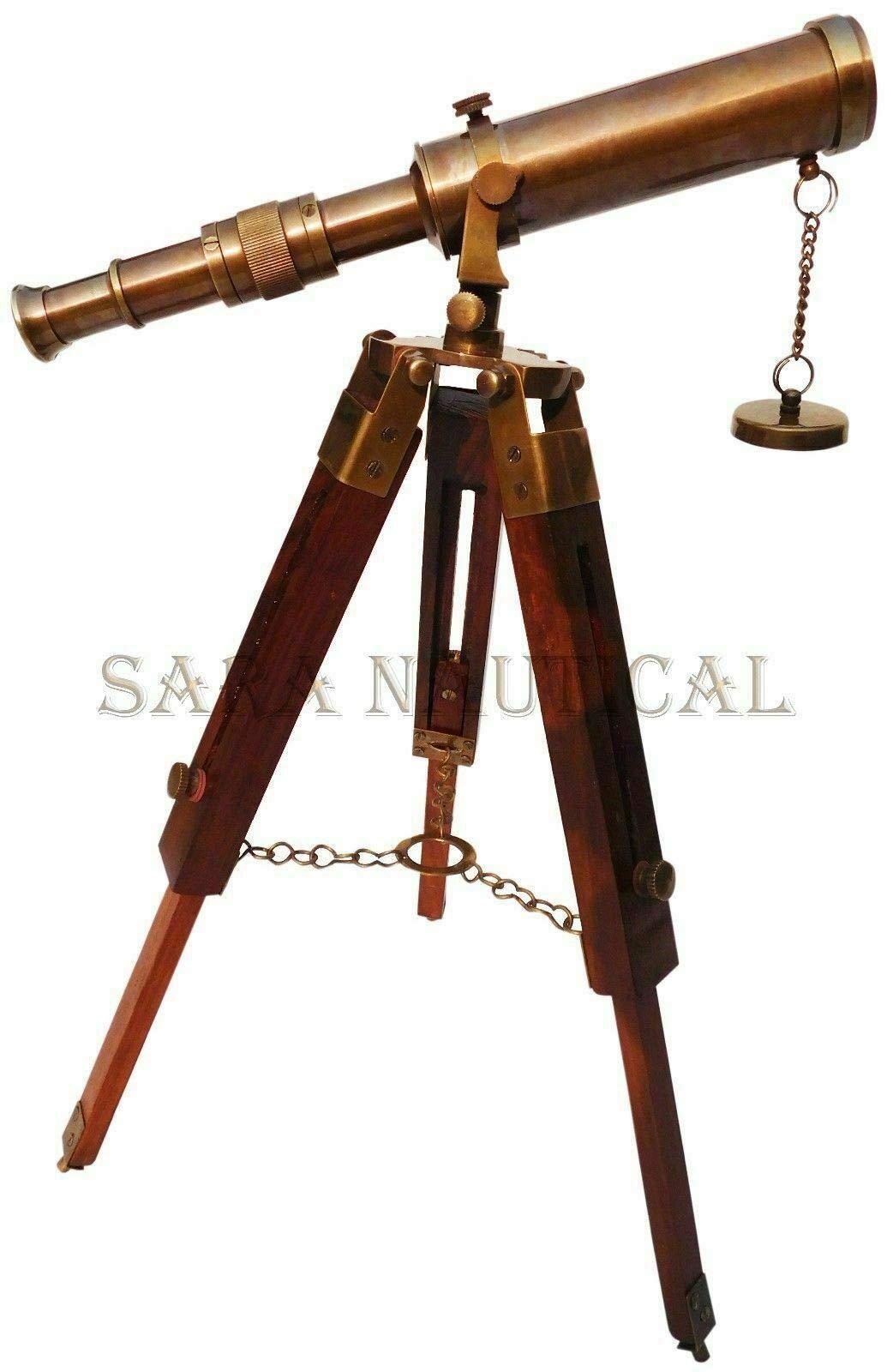 PIRU Antique Brass Telescope with Collectible Wooden Tripod Stand Vintage Desk Decor