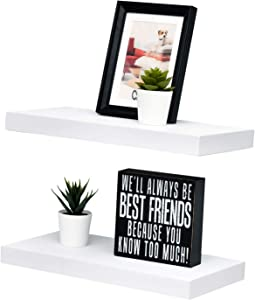 "WELLAND Set of 2 Floating Shelves Wall Mounted Shelf, for Home Decor with 8"" Deep (White, 15 inch)"