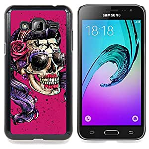 - Pink Sunglasses Skull Funny Metal Rock - - Snap-On Rugged Hard Cover Case Funny HouseFOR Samsung Galaxy J3