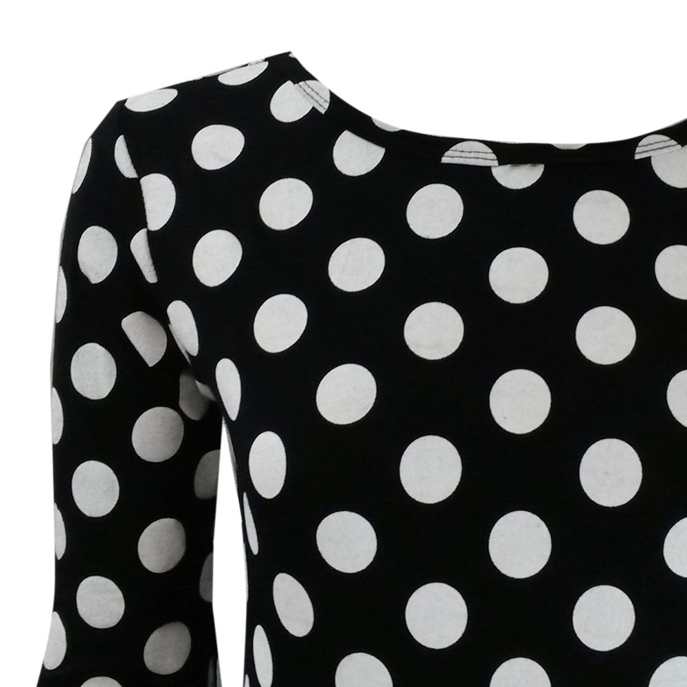 Online Fashion Store NEW BLACK WHITE POLKA DOT SPOTTED LONG SLEEVED MIDI DRESS PLUS SIZE 8-22: Amazon.co.uk: Clothing