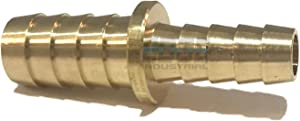 "EDGE INDUSTRIAL 1/2"" X 3/8"" Hose ID Brass Barb Reducer SPLICER Fitting Fuel/AIR/Water/Oil/Gas/WOG (Qty 1) (Qty 01)"