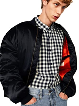 b03dfd087 Zara Oversized Bomber Jacket Navy Blue at Amazon Men's Clothing store:
