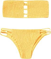 0e3af338e8427 ZAFUL Women s Strapless Shirred Smocked Bandeau Two Piece Bikini Set  Swimsuit