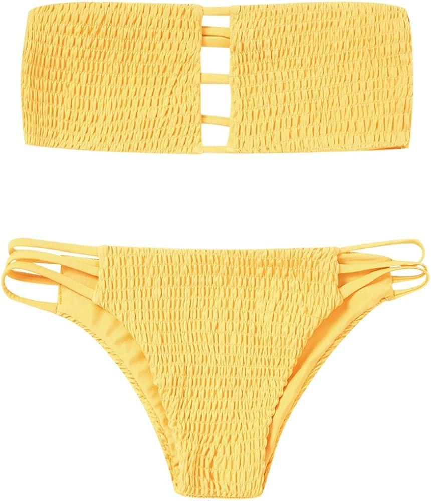ZAFUL Women's Strapless Shirred Smocked Bandeau Two Piece Bikini Set Swimsuit