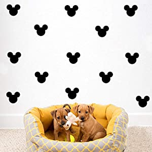 YONGPAN 24PCS Cartoon Mickey Mouse Head Wall Sticker Baby Nursery Cute Animal Wall Decal Children Room, Wall Art Easy Removable (Black, Vinyl PVC Material)
