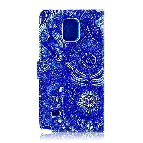 Galaxy Note 4 Case, Tradekmk(TM) Brand New Colored Drawing Design Fashion High Quality PU Leather Wallet Case Built-in Card Slots, Cash Compartment Stand Case Cover[Deep Blue Tarot Card Pattern] Compatible with Samsung Galaxy Note 4[+Stylus+Screen Protector+Cleaning Cloth]