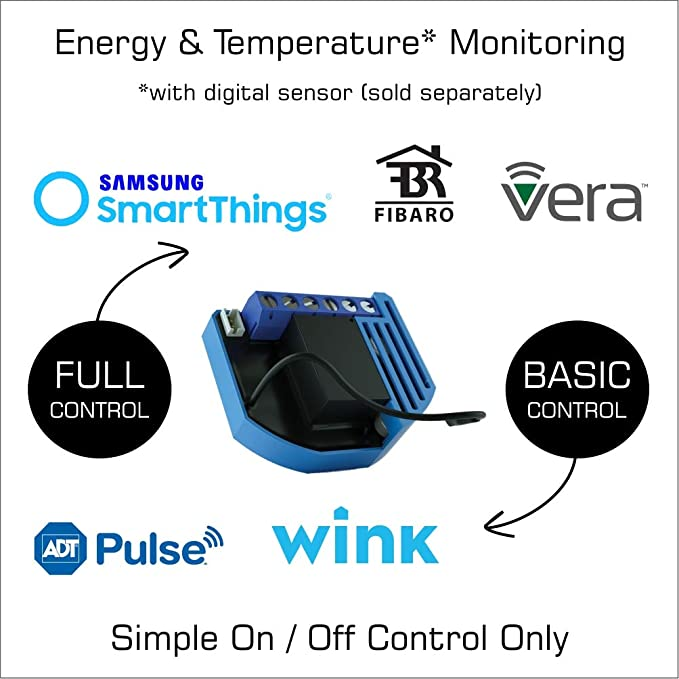 Qubino Z-Wave Plus 1 Relay Switch and Energy Monitor ZMNHAD3  Works with  Wink, SmartThings, Vera, and More  Compact Design, the Smallest in the US