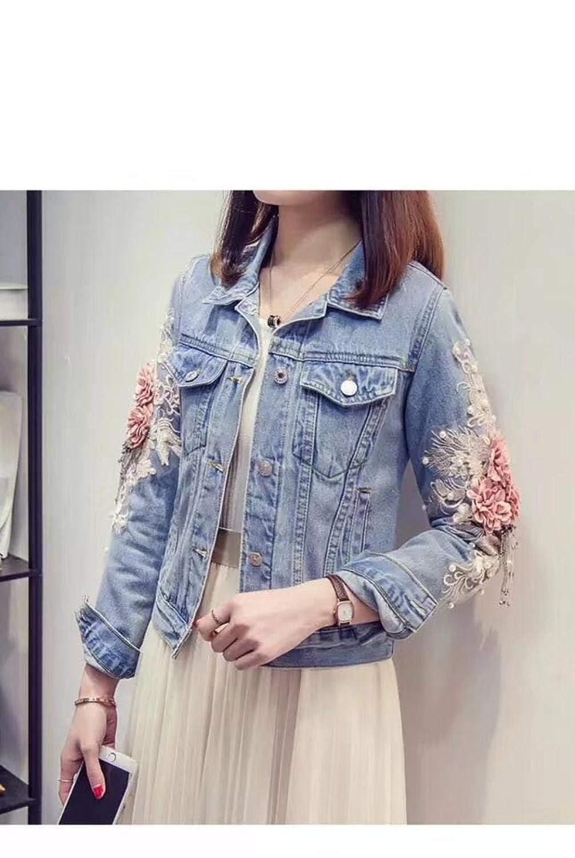 2019 Autumn Women Embroidery Dimensional Flowers Pearl Bead Denim Coat Jean Jacket