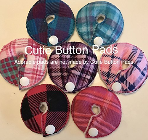 Cutie Button Pads G/j Tube Pad 7 Pack (Plaids Girl Random - Gastrostomy Button