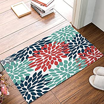 Amazon Com Floral Doormat Dahlia Flower Teal Navy Red