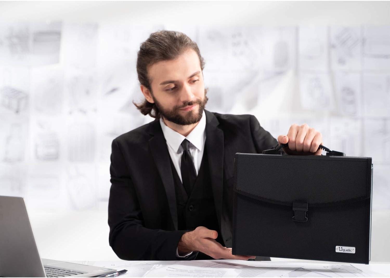 Uquelic Upgrated Datei Organizer A4 26 Taschen Datei Ordner A4 Erweiterbare Datei Ordner Taschen A4 Gro/ße F/ächermappe A4 Akkordeon Dateiordner A4 Tragbar Dokumentenmappe A4 mit Griff