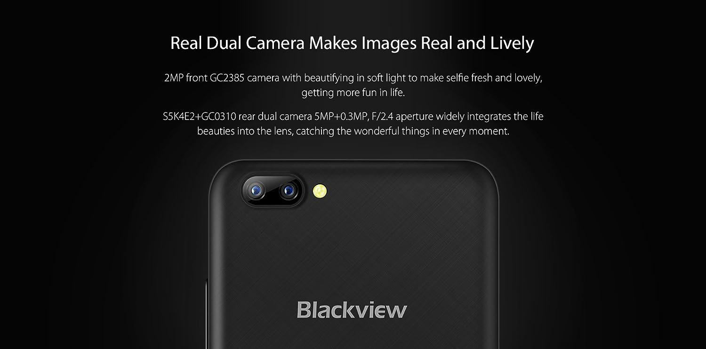 Blackview A7 - 5,0 pulgadas IPS pantalla 3G Android 7,0 smartphone, 2MP cámara frontal + 5MP cámara trasera dual, 1.3GHz Quad Core 1 GB de RAM de 8 GB, ...