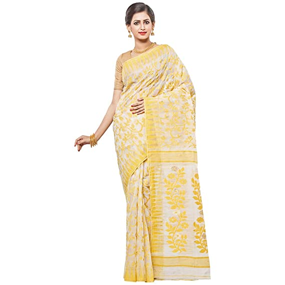 62fdfe783d8f Trimaya Women's Off-white body, with Yellow all over embroidery Dhakai  Jamdani Saree: Amazon.in: Clothing & Accessories