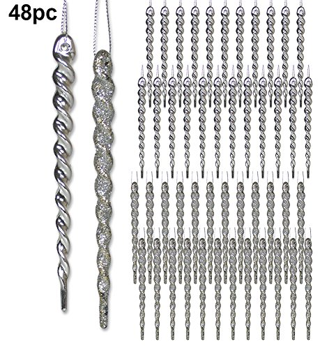 Silver Christmas Decorations - Set of 48 Silver Hanging Icicles - Packaged Includes 24 Shiny Silver Icicles and 24 Glitter Silver Icicles - Shatterproof Icicle - Icicle Silver