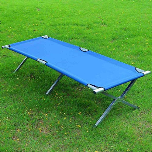 Outdoor Garden Portable Folding Cot Military Hiking Camping Park Sleeping Bed Full Size W/ Carry bag Blue #220 (Argos Rattan Garden Furniture Set)