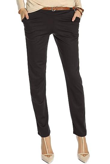 1743e7a3cb65a BestyledBerlin Pantalon Femme, Chino avec Ceinture j213p Marron L:  Amazon.fr: Vêtements et accessoires
