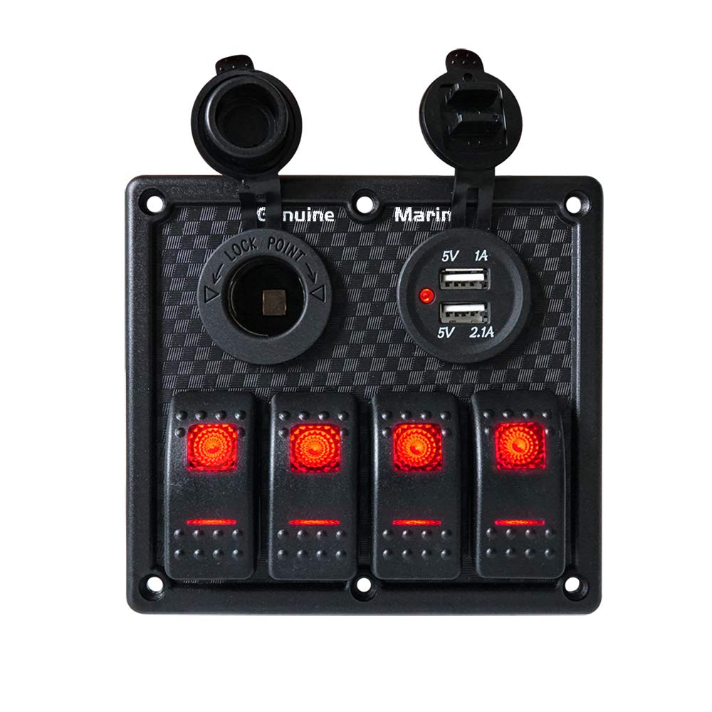 4 Gang Switch Panel Boat - Digital Voltmeter Display, Dual 5V USB Charger Socket, DC 12V Slot, Red LED Light, 12V-24V Circuit Breaker General Switching, Waterproof Toggle Switches Used Truck … by Genuine Marine
