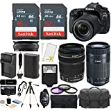 Canon EOS 80D DSLR 24.2MP Wi-Fi Camera Kit + EF-S 18-135mm IS USM + 55-250mm IS STM Lens + 32GB & 16GB Card + Case + Flash + Tripod + Grip + Spare Battery & Charger + Filters - 48GB Accessories Bundle