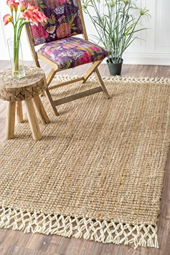 nuLOOM NCNT24A Handwoven Raleigh Wool Rug, 3' x 5', Natural