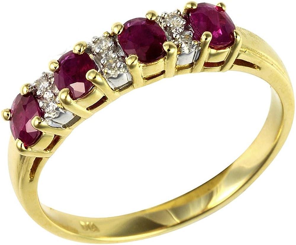 Bague - 181R0619-18 - Anillo de mujer de oro amarillo (9k) con diamantes y rubís