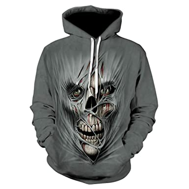 63f0b36c2967 Men Women Casual Cool 3D Print Skull Pullover Gun Warrior Hoodie Print  Knife Harajuku Sweatshirts Top