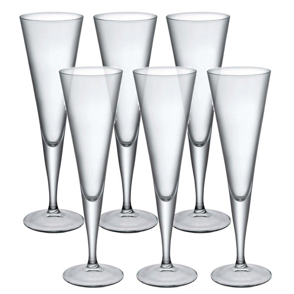 Bormioli Rocco Ypsilon Champagne Flutes Glassware Dinner Glasses Toast Wine - Set of 6 UKASNHKTN7189