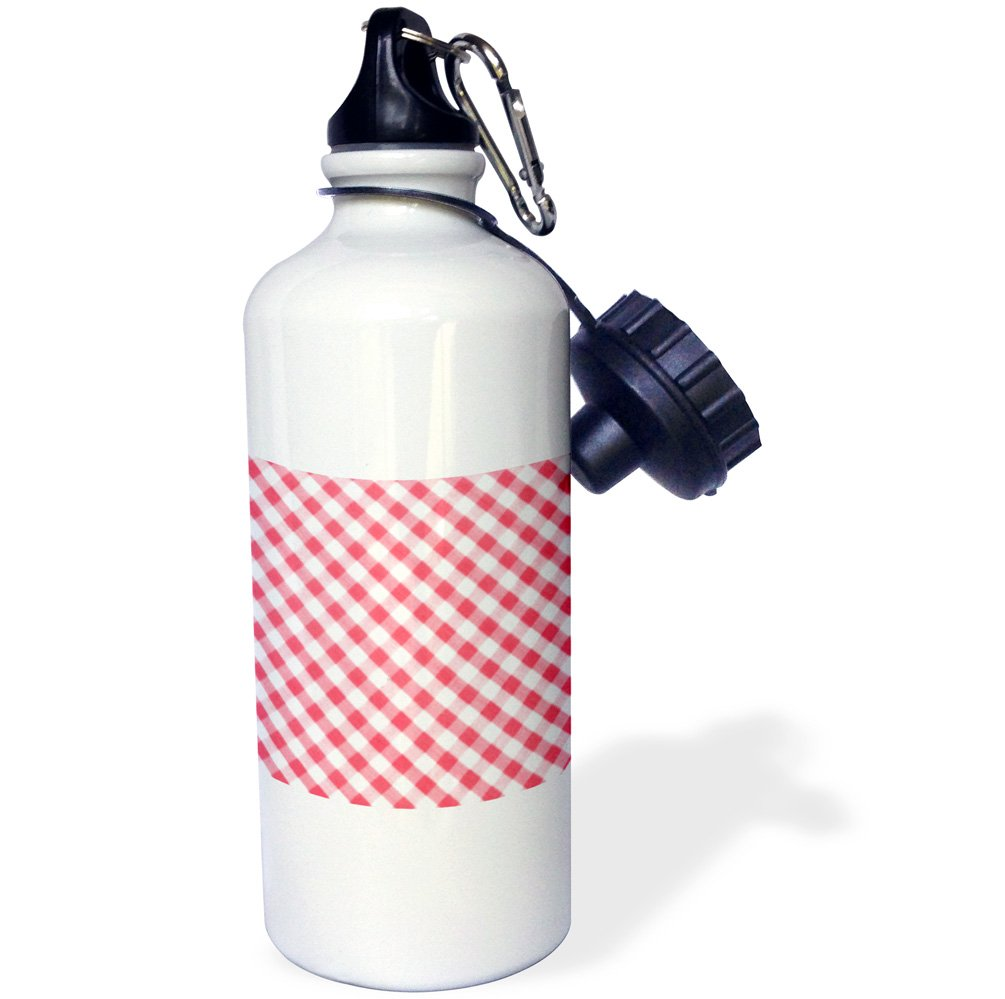 3dRose wb_113023_1 ''Red and white Gingham pattern diagonal checkered checks rustic retro country cottage dining kitchen'' Sports Water Bottle, 21 oz, White