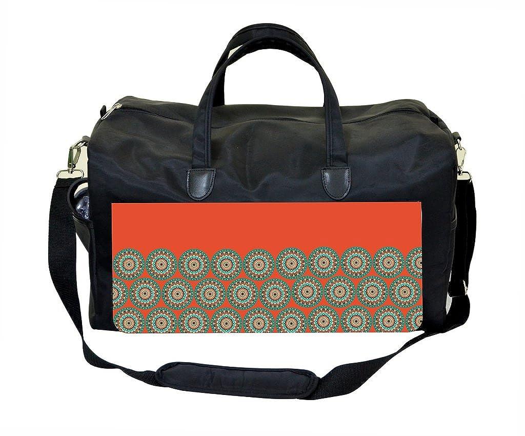 Weekender Bag Orange-Teal Circles ON ORANGE