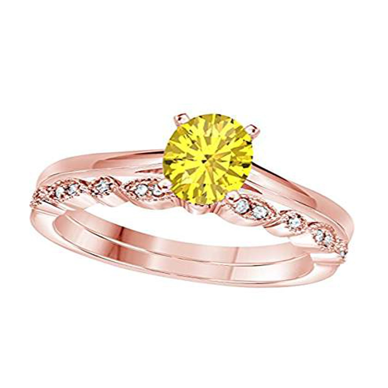 Silverraj Jewels 14K Rose Gold Plated Round Yellow Simulated Diamond Studded Wedding /& Engagement Ring Jewelry/…