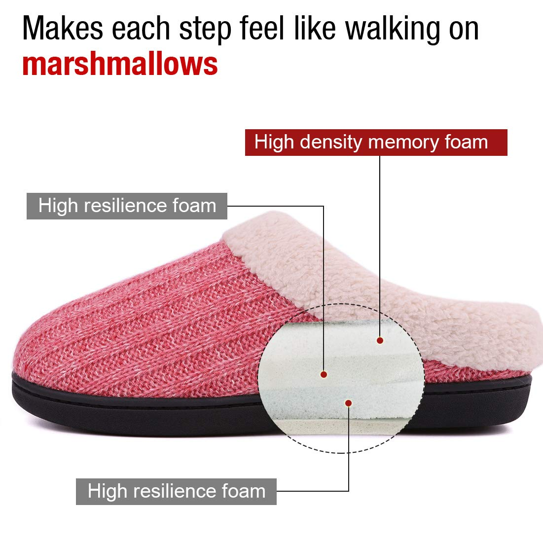 Ladies Comfy Cotton Knit Memory Foam Ballerina Slippers Light Weight Terry Cloth House Shoes w//Stretchable Heel