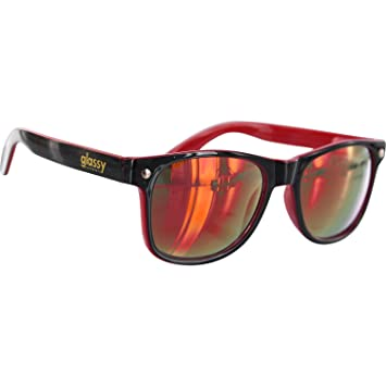 96d91ff564 Glassy Sunhaters Leonard Black   Red Mirror Sunglasses  Amazon.co.uk   Sports   Outdoors