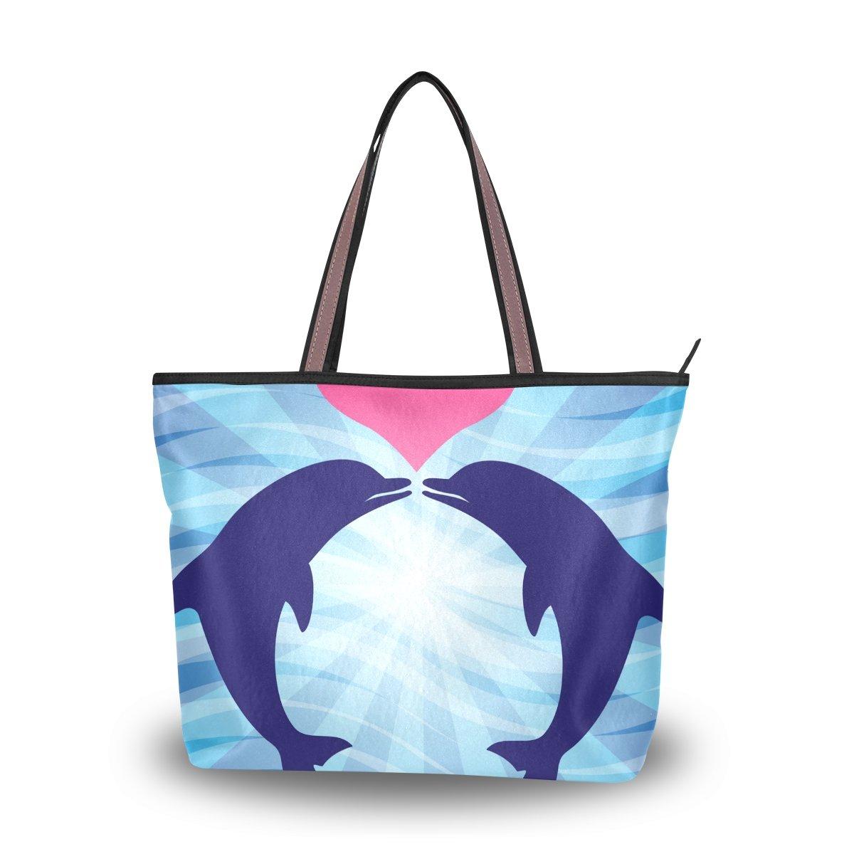 imobaby Love Dolphins Women Large Tote Shoulder BagsTop Handle Handbag TE052