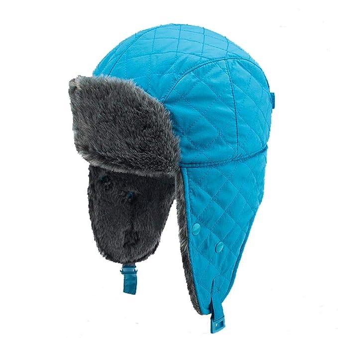 Gorro azul mujer con orejas y pelo sintético