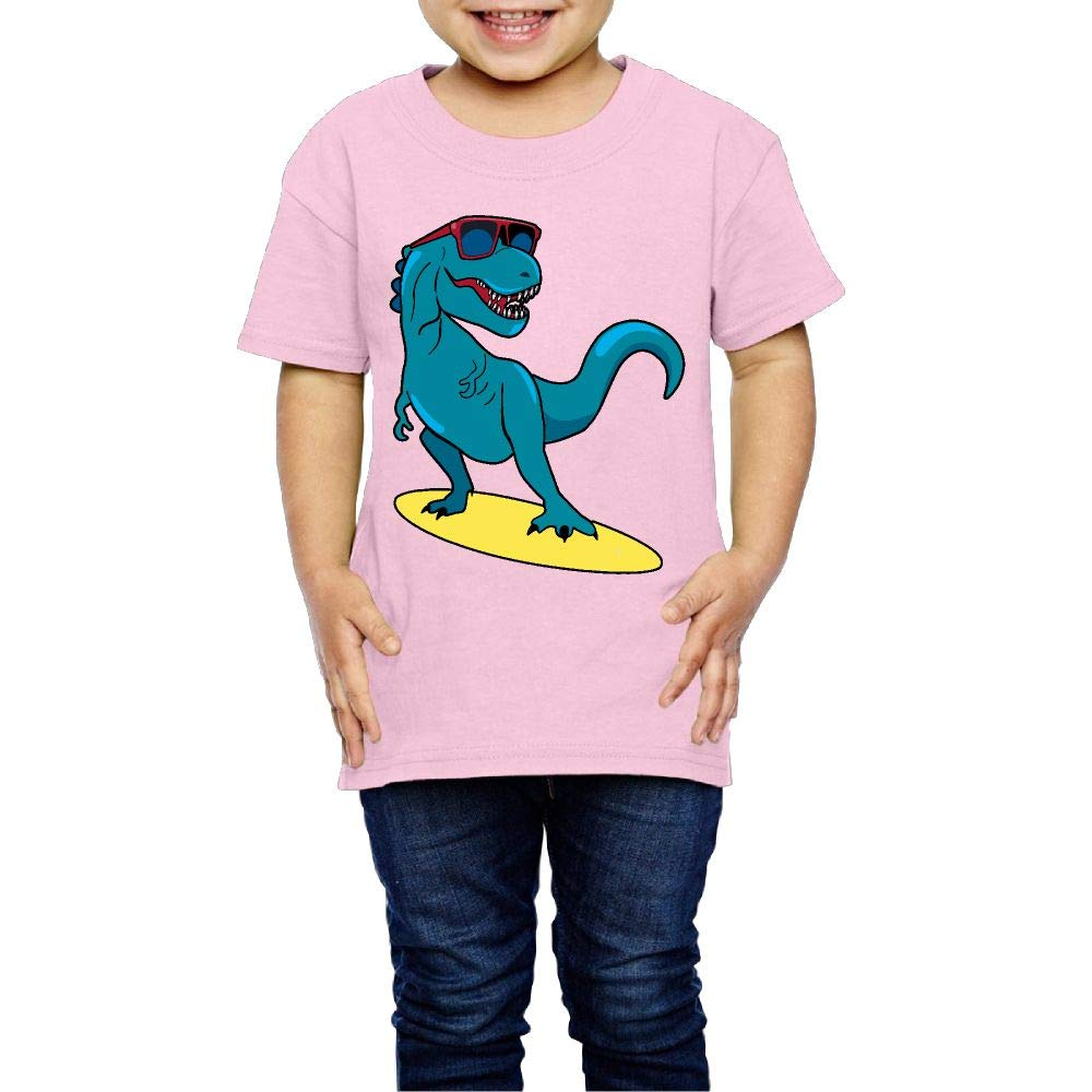 XYMYFC-E Happy Dinosaur Surfer Wearing Sunglasses 2-6 Years Old Children Short-Sleeved T Shirt